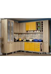 Cozinha Completa Multimóveis Com 11 Peças Sicília 5805 Argila/Amarelo