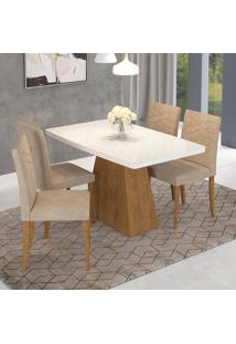 Conjunto De Mesa Helen 130X80Cm Com 4 Cadeiras Marina - Cimol - Savana / Branco / Caramelo