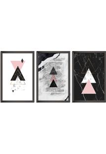 Quadro Oppen House 60X120Cm Abstrato Escandinavo Coloridos Geométrico Triangulos Moldura Preta Sem Vidro Mod: Oh5711