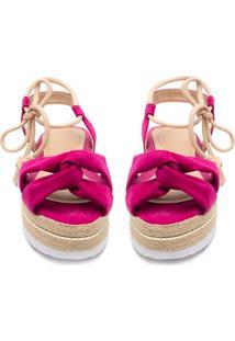 Sandã¡Lia Flatform Corda Anabela Tratorada Pink - Pink - Feminino - Nobuck - Dafiti