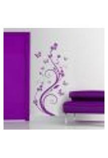 Adesivo De Parede Floral 03 (Flores E Borboletas) - P 66X33Cm