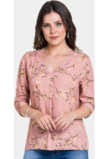 Blusa Tecido Rayon Bali Rosa Nostalgia