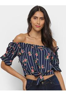 Blusa Royallove Cropped Ombro A Ombro Listrada Floral Feminina - Feminino-Marinho+Vermelho