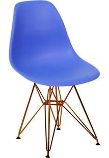 Cadeira Com Base Em Cobre Eames 1102-Or Design - Azul Marinho