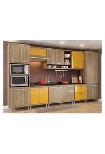 Cozinha Completa Multimóveis Com 9 Peças Sicília 5833 Argila/Amarelo
