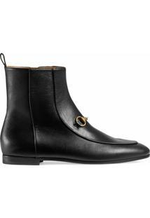 Gucci Ankle Boot 'Gucci Jordaan' De Couro - Preto