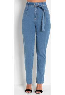 Calça Reta Jeans Claro Com Fivela Sawary