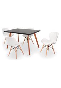 Conjunto Mesa De Jantar Gih 120X80Cm Preta Com 4 Cadeiras Slim - Branco