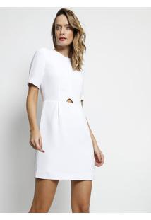Vestido Com Pregas & Recortes- Brancolacoste