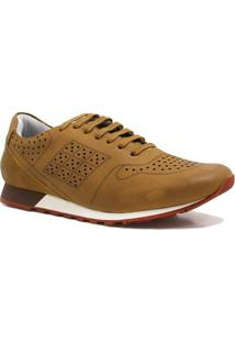 Sapatênis Zariff Shoes Casual Couro - Masculino-Caramelo