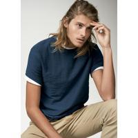 Camiseta Masculina Básica Em Malha Flamê De Algodão E Modelagem Slim c4ad251977b