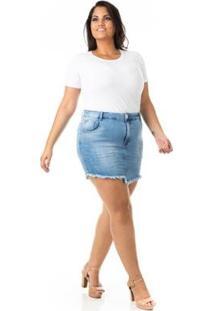 Saia Jeans Tradicional Com Lycra Plus Size Confidencial Extra Feminina - Feminino-Azul