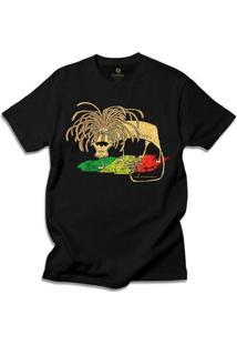 Camiseta Geek Cool Tees Comics Fernando Gonsales Leao Jamaica Bob Marley Masculina - Masculino-Preto