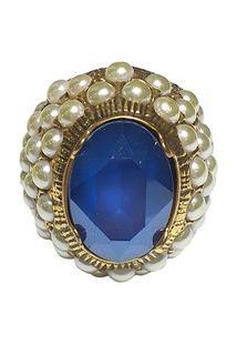 Anel Armazem Rr Bijoux Pérolas E Cristal Swarovski Azul Dourado