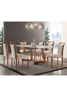 Conjunto De Mesa De Jantar Com 6 Cadeiras Lívia Linho Off White E Turim 180 Cm