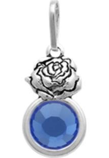Pingente Prata Mil Prata Envelhecida Rosa Com Pedra Chaton Azul