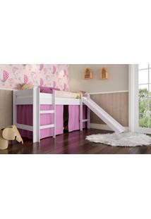 Cama Elevada Completa Móveis Bb 880 Com Escorregador Branco/Rosa Se