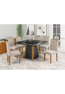 Conjunto De Mesa De Jantar Com Tampo Giratório Júlia E 6 Cadeiras Isabela Animalle Preto E Bege