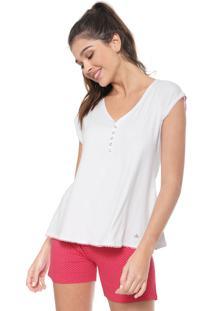 Pijama Malwee Liberta Maternidade Branco/Rosa