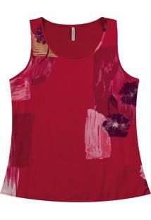 Blusa Sem Manga Com Decote Redondo Vermelho