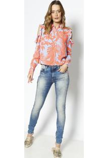 e5a6a57f50 ... Camisa Com Recortes   Babados- Coral   Liláslez A Lez