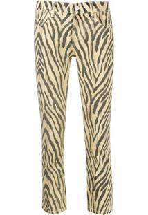 Current/Elliott Calça Cropped Com Estampa De Zebra - Amarelo