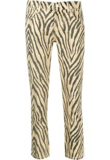 Current/Elliott Zebra Print Cropped Trousers - Amarelo