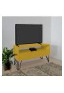 Rack Para Tv Bancada Com Nicho E Gaveta Pés Hairpin Legs Estilo Industrial Amarelo Laca