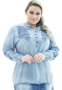 27f2799103 ... Camisa Confidencial Extra Jeans Manga Longa Com Bordado Plus Size  Feminina - Feminino-Azul Claro