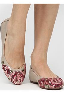 Sapatilha Shoestock Bordado Flor Color - Feminino-Bege