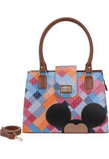 Bolsa Gouveia Costa Mickey Mouse Alça Transversal Feminina - Feminino-Azul+Rosa