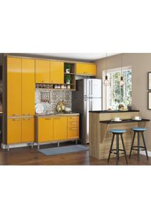 Cozinha Completa Com Bancada E Balcão Sem Tampo 5 Peças 8 Prateleiras Sicília Multimóveis Argila/Amarelo