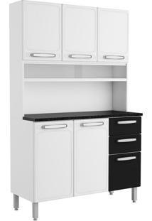 Cozinha Compacta Cecil 6 Pt 2 Gv Branca E Preta
