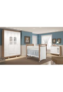 Dormitório Selena 04 Amadeirado Rústico Carolina Baby Marrom/Branco