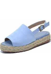 Sandália Anabela Flor Da Pele Azul Bebe - Kanui