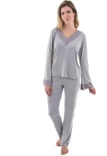 Pijama Inspirate De Inverno Longo Com Cetim Mescla