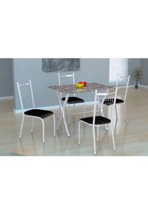 Conjunto De Mesa Miame 110 Cm Com 4 Cadeiras Lisboa Branco E Preto Liso