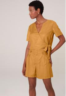 Blusa Transpassada Em Viscolinho - Amarelo