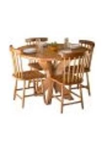 Conjunto Mesa De Jantar Redonda 1,20M Com 4 Cadeiras Country Em Madeira De Lei Maciça