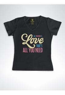 Camiseta Feminina Gola V Cool Tees All You Need Preta - Preto - Feminino - Algodã£O - Dafiti