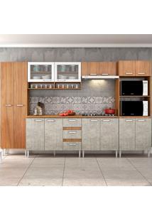 Cozinha Compacta C/Tampo Reflecta03 – Fellicci - Nogal / Concreto