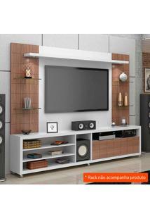 Painel Para Tv 50 Polegadas Atenas Branco Fosco E Carvalho ÉVora 200 Cm