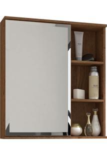Espelho Para Banheiro C/ 1 Porta E 1 Prateleira Treviso - Mgm - Amendoa