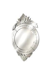 Espelho Veneziano - Moldura Em Vidro Trabalhado 100Cm
