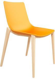 Cadeira P&W Plástico Pp E Base Em Madeira De Faia Amarela - Orb