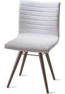 Cadeira Quiz Assento Estofado Linho Branco Com Base Tabaco - 46884 - Sun House