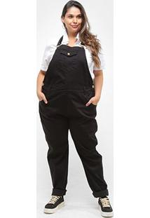 Macacão Xtra Charmy Sarja Plus Size Feminino - Feminino-Preto