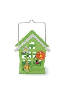 Cachepot De Metal Para Doces Casinha Pequena Verde Com Flores E Coelho - 4 Unidades - Cromus