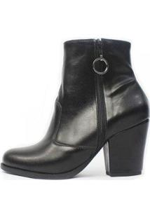 Bota Cano Curto Damannu Shoes Florence Feminina - Feminino-Preto