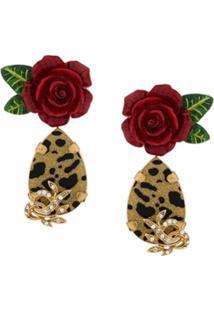 Dolce & Gabbana Par De Brincos Longos - Dourado